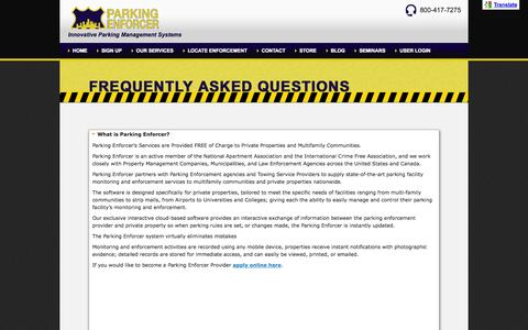 Screenshot of FAQ Page parkingenforcer.com - FAQ - Parking Enforcer - captured Sept. 30, 2014
