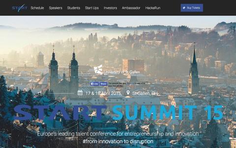 Screenshot of Home Page startsummit.ch - START Summit 15 - captured Jan. 27, 2015