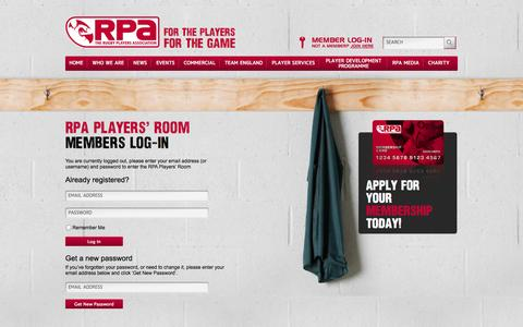 Screenshot of Login Page Terms Page therpa.co.uk - The RPA : The Rugby Players' Association » Login - captured Oct. 26, 2014