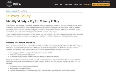 Screenshot of Privacy Page imfg.com.au - Privacy Policy, Contact, IMFG - captured Nov. 28, 2016