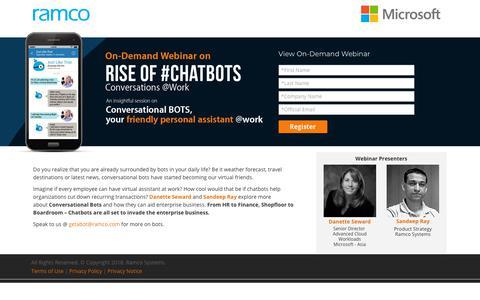 Screenshot of Landing Page ramco.com - Webinar on Chatbots - captured Aug. 23, 2018