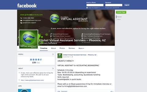 Screenshot of Facebook Page facebook.com - Global Virtual Assistant Services - Phoenix, AZ - Phoenix, Arizona - Internet/Software   Facebook - captured Oct. 23, 2014