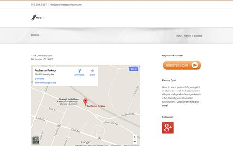 Screenshot of Maps & Directions Page rochesterparkour.com - –  Directions - captured Oct. 1, 2014
