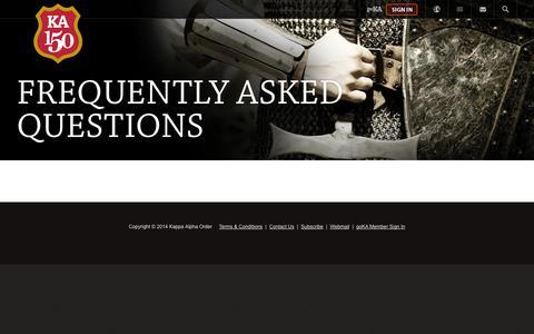 Screenshot of FAQ Page kappaalphaorder.org - Kappa Alpha Order  » FAQ - captured Sept. 30, 2014