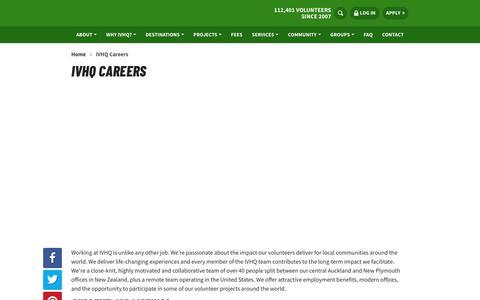 Screenshot of Jobs Page volunteerhq.org - IVHQ Careers | International Volunteer HQ - captured Feb. 13, 2020