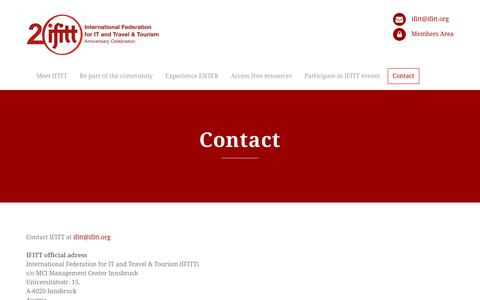 Screenshot of Contact Page ifitt.org - Contact | IFITT – International Federation for IT and Travel & Tourism - captured Sept. 22, 2018