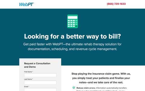Screenshot of Landing Page webpt.com - WebPT | Billing - captured Aug. 18, 2016