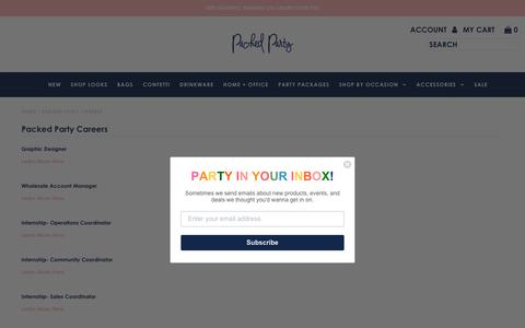 Screenshot of Jobs Page packedparty.com - Packed Party Careers - captured April 27, 2019