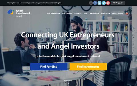 Screenshot of Home Page angelinvestmentnetwork.co.uk - The UK Angel Investment Network - Business Angels, Entrepreneurs & Angel Investors - captured Jan. 23, 2015
