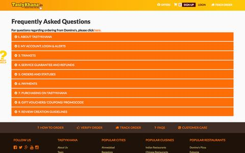 Screenshot of FAQ Page tastykhana.in - Frequently Asked Questions | TastyKhana.in - captured Oct. 10, 2014