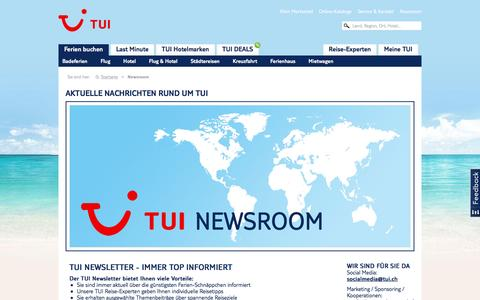 Screenshot of Press Page tui.ch - Newsroom - captured Sept. 1, 2016