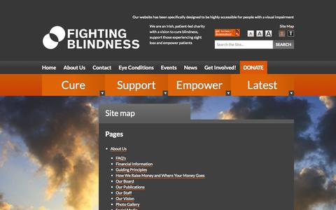 Screenshot of Site Map Page fightingblindness.ie - Site map - Fighting Blindness - captured Sept. 30, 2014