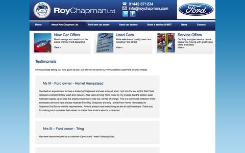 Screenshot of Testimonials Page roychapman.com - Testimonials | Roy Chapman - captured Oct. 9, 2014
