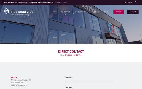 Screenshot of Contact Page mediaservicemaastricht.nl - Contact - Mediaservice Maastricht - captured Sept. 27, 2018