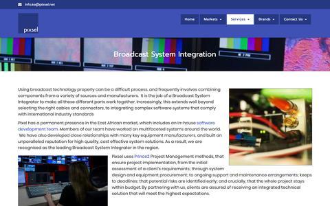 Screenshot of Services Page pixsel.co.ke - Broadcast System Integration - Pixsel Africa Limited - captured Sept. 28, 2018