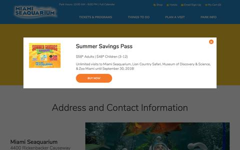 Screenshot of Contact Page miamiseaquarium.com - Contact Us | Miami Seaquarium - captured Sept. 20, 2018