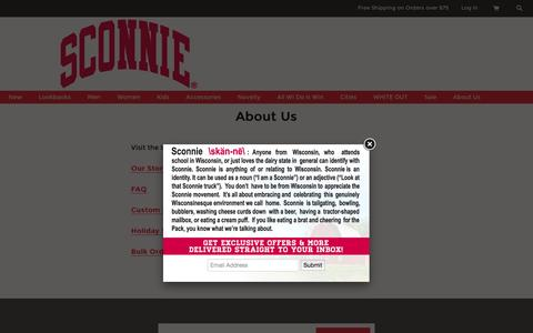 Screenshot of About Page sconnie.com - About Us – Sconnie Nation :: Original Apparel Celebrating the Wisconsin Lifestyle - captured Feb. 4, 2016