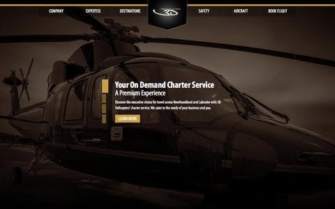 Screenshot of Home Page 3dhelicopters.ca - 3D Helicopters | Newfoundland's Premier Charter Service - captured Sept. 30, 2014