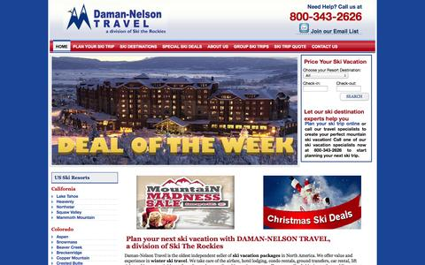 Screenshot of Home Page skirun.com - Daman-Nelson Travel: Ski Vacation Packages, Ski Trips, Ski Travel Lodging Deals - captured Oct. 5, 2014