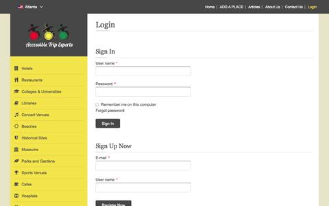 Screenshot of Login Page accessibletripexperts.com - Login - captured Sept. 26, 2014