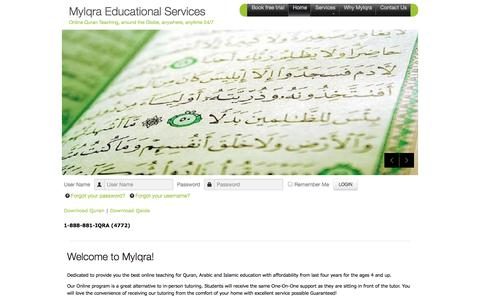 Screenshot of Home Page myiqra.com - MyIqra Educational Services - Home - captured Sept. 30, 2014