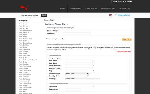 Screenshot of Login Page graf-ia.com - Login : Puma online store - captured May 25, 2017