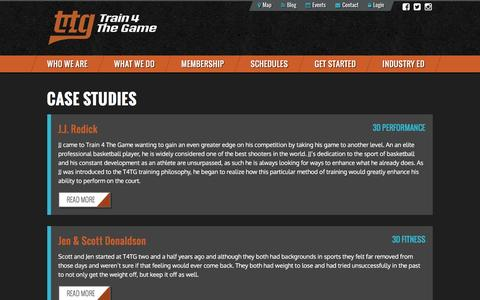 Screenshot of Case Studies Page train4thegame.com - Case Studies | Train 4 The Game - captured Feb. 23, 2016