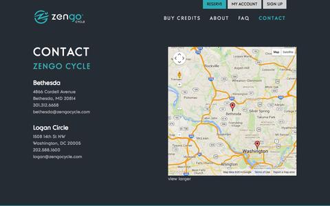 Screenshot of Contact Page zengocycle.com - Contact | Zengo Cycle - captured Oct. 27, 2014