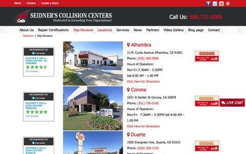 Screenshot of Locations Page seidnerscc.com - Yelp Reviews | Seidner's - captured Dec. 3, 2016