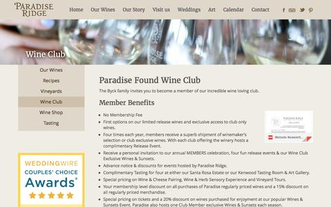 Screenshot of Signup Page prwinery.com - Wine Club - Paradise Ridge WineryParadise Ridge Winery - captured Oct. 20, 2016