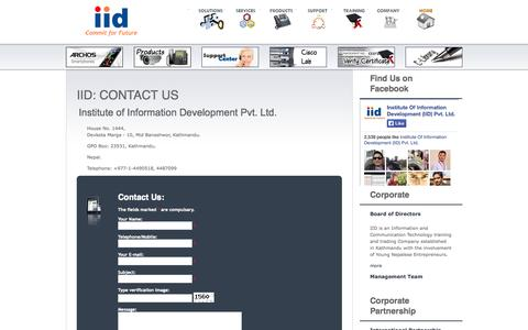 Screenshot of Contact Page iidnetwork.net - Institute of Information Development (IID) Pvt. Ltd. :: ICT leader in Nepal with Expertise in technologies from Cisco, and Juniper. - captured Oct. 3, 2014