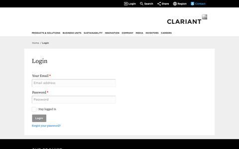 Screenshot of Login Page clariant.com - Login - captured June 7, 2019