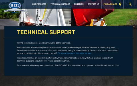 Screenshot of Support Page heil.com - Technical Support   Heil - captured Aug. 2, 2017