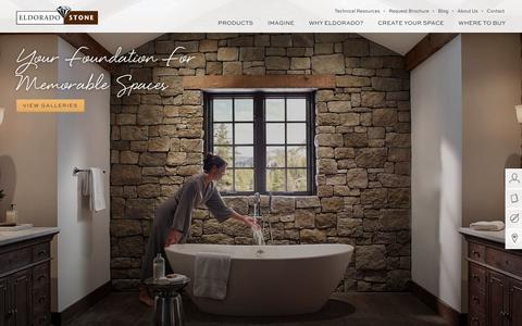Screenshot of Home Page eldoradostone.com - Eldorado Stone - Stone Veneer, Architectural Stone and Brick Products - captured March 17, 2016