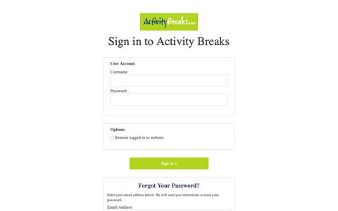 Screenshot of Login Page activitybreaks.com - Login | Activity Breaks - captured Nov. 6, 2018