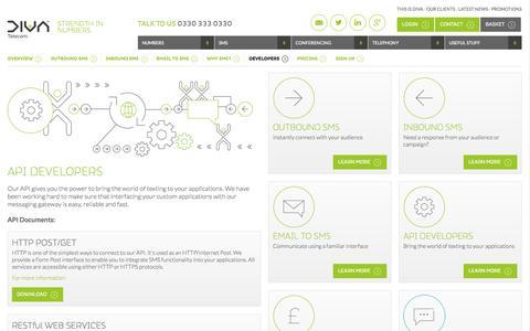 Screenshot of Developers Page divatelecom.co.uk - SMS Text Message API Gateway   DIVA - captured Oct. 10, 2014