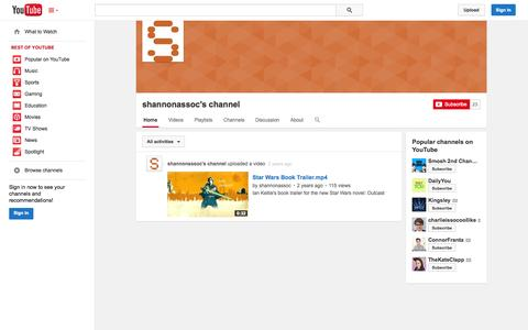 Screenshot of YouTube Page youtube.com - shannonassoc's channel  - YouTube - captured Nov. 3, 2014