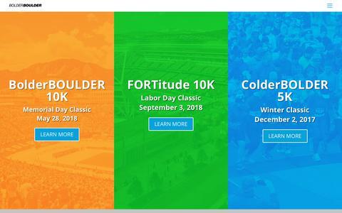 Screenshot of Home Page bolderboulder.com - BolderBoulder Homepage - BolderBOULDER - captured Oct. 10, 2017