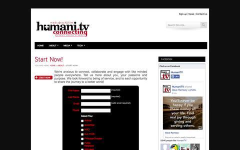 Screenshot of Signup Page humani.tv - Start Now! » HumaniTVHumaniTV - captured Oct. 3, 2014