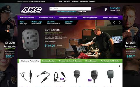 Screenshot of Home Page arcmics.com - Astra Radio Communications (ARC) - High Quality Two Way Radio Accessories - captured Oct. 4, 2014