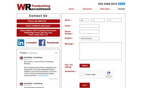 Screenshot of Contact Page work-relief.org.uk - Contact Us   WR Fundraising Recruitment - captured Oct. 20, 2018