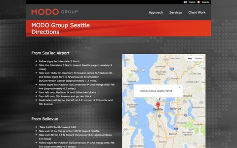 Screenshot of Maps & Directions Page modo-group.com - MODO Group   –  MODO Group Seattle Directions - captured May 26, 2017