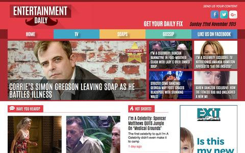 Screenshot of Home Page entertainmentdaily.co.uk - Entertainment Daily - The number 1 destination for gossip on the web. Get your daily fix. - captured Nov. 22, 2015