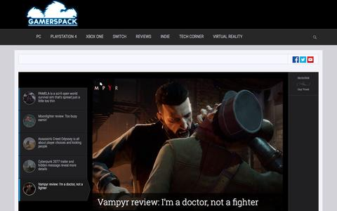 Screenshot of Home Page gamerspack.com - Video Games News, Reviews and Opinions - GamersPack - captured July 16, 2018