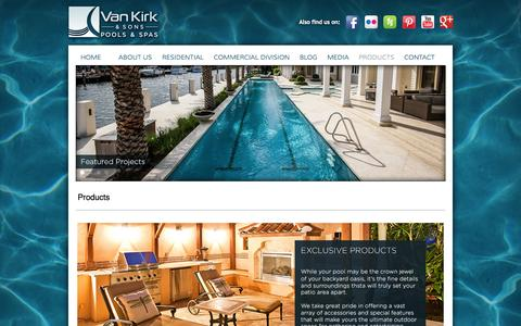 Screenshot of Products Page vankirkpools.com - Products - captured Oct. 7, 2014