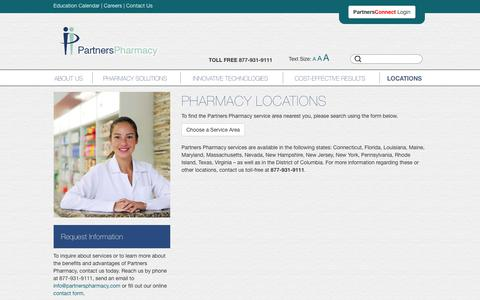 Screenshot of Locations Page partnerspharmacy.com - Pharmacy Locations | Partners Pharmacy - captured Nov. 4, 2018