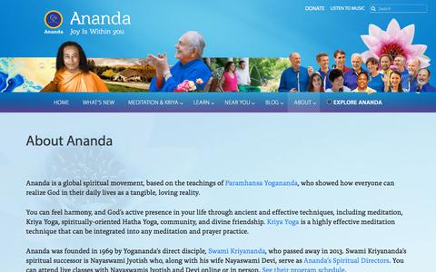 Screenshot of About Page ananda.org - About Ananda — Ananda - captured Sept. 22, 2018