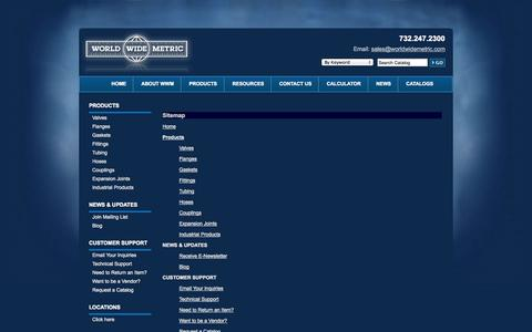 Screenshot of Site Map Page worldwidemetric.com - Worldwide Wholesale Distribution of Valves, Fittings, Tubing & Flanges: World Wide Metric - captured Sept. 19, 2014