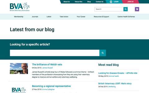 Screenshot of Blog bva.co.uk - Blog | British Veterinary Association - captured Dec. 6, 2019
