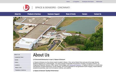 Screenshot of About Page cinele.com - L3 Space & Sensors - Cincinnati - captured March 19, 2019